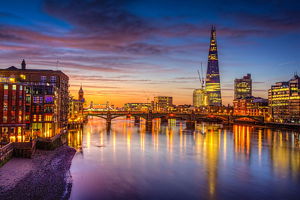 Properties overlooking River Thames London.